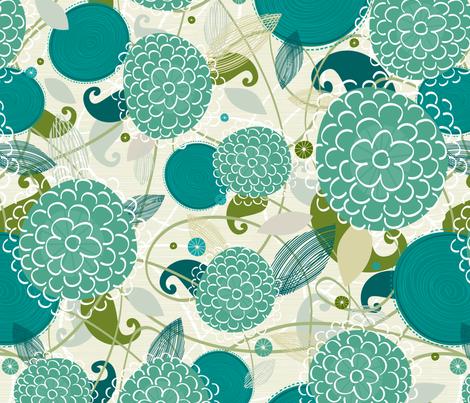Mums in Blue fabric by friztin on Spoonflower - custom fabric