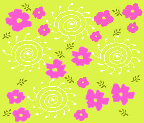 Flower Field fabric by deeniespoonflower on Spoonflower - custom fabric