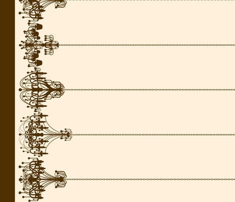 Chandelier Border in Brown on Cream fabric by charmcitycurios on Spoonflower - custom fabric