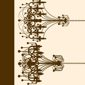 Chandelier Border in Brown on Cream