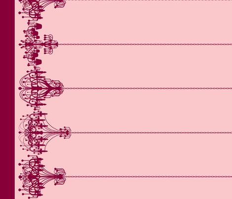 Chandelier Border in Raspberry fabric by charmcitycurios on Spoonflower - custom fabric