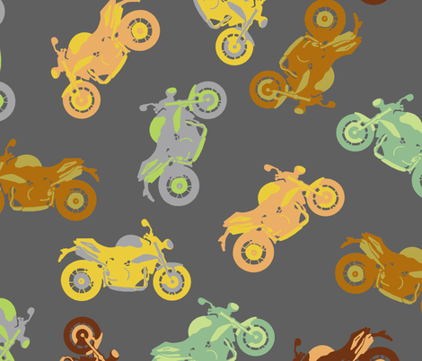 Motorbike Medley - Large fabric by uzumakijo on Spoonflower - custom fabric
