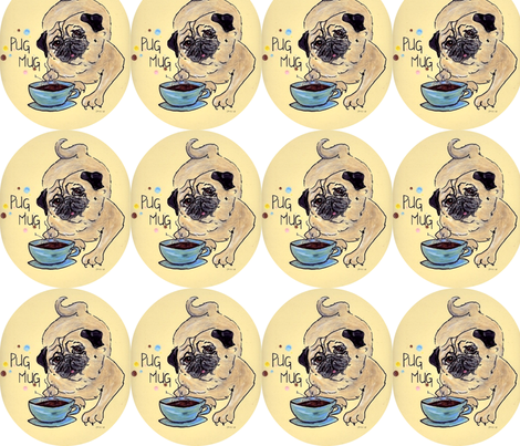 Pug_Mug-ed fabric by cfishdesign on Spoonflower - custom fabric