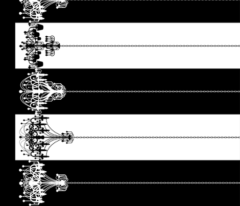 Chandelier Border Stripes in Black on White