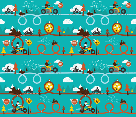 Biker_Birds fabric by lien_geeroms on Spoonflower - custom fabric
