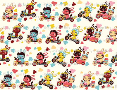 (zoom in for detail) Funny Bunny Bikers for girls | Diagonal white