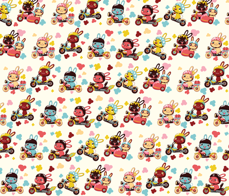 (zoom in for detail) Funny Bunny Bikers for girls | Diagonal white fabric by irrimiri on Spoonflower - custom fabric