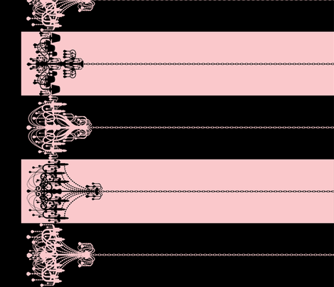 Chandelier Border Stripes in Black on Pink