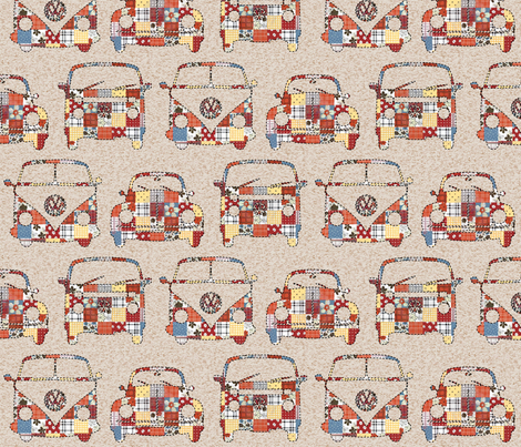 Patchwork VW's fabric by dogsndubs on Spoonflower - custom fabric
