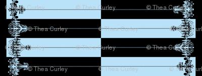 Chandelier Border Stripes in Black on Light Blue