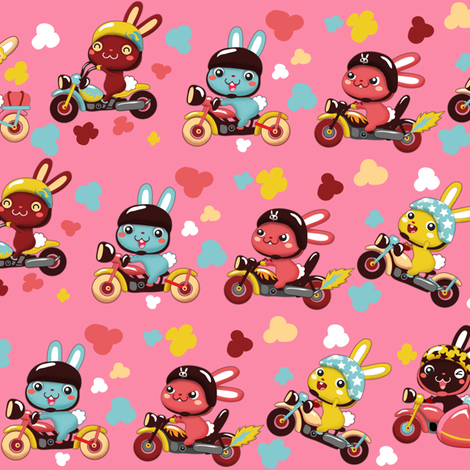 (zoom in for detail) Funny Bunny Bikers for girls | Diagonal pink fabric by irrimiri on Spoonflower - custom fabric