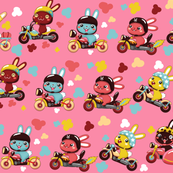 (zoom in for detail) Funny Bunny Bikers for girls | Diagonal pink