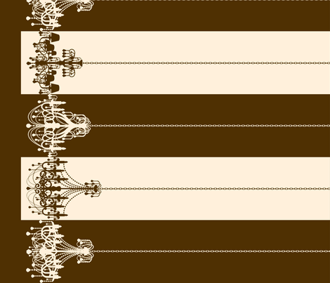 Chandelier Border Stripes in Brown on Cream fabric by charmcitycurios on Spoonflower - custom fabric