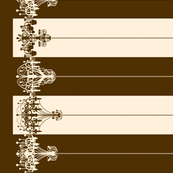 Chandelier Border Stripes in Brown on Cream