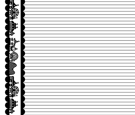 Carnival Border in Black on White fabric by charmcitycurios on Spoonflower - custom fabric