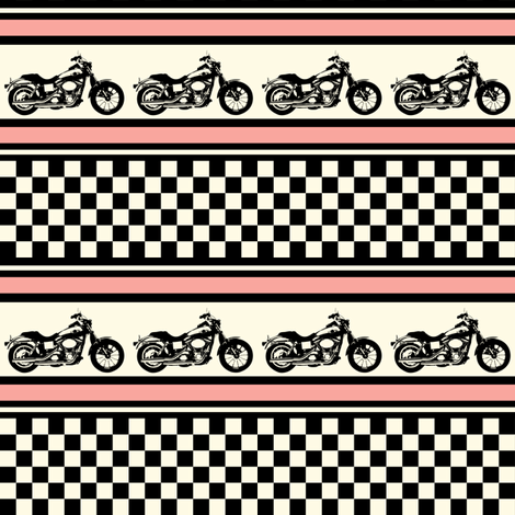 Motorcycle Checks and Stripes fabric by ★lucy★santana★ on Spoonflower - custom fabric