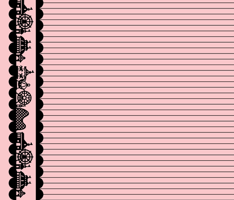 Carnival Border in Black on Pink fabric by charmcitycurios on Spoonflower - custom fabric