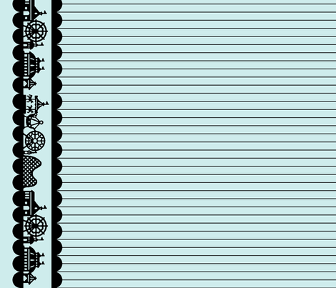 Carnival Border in Black on Mint fabric by charmcitycurios on Spoonflower - custom fabric