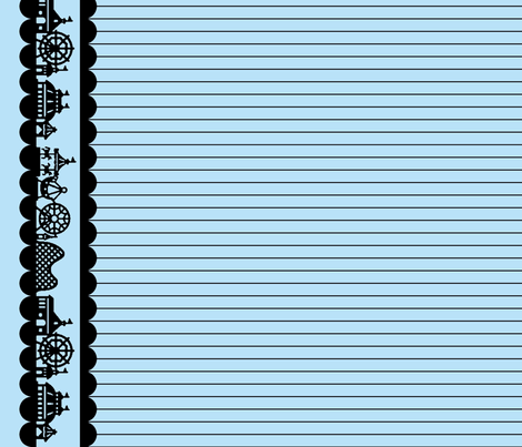 Carnival Border in Black on Light Blue fabric by charmcitycurios on Spoonflower - custom fabric
