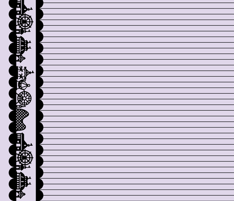 Carnival Border in Black on Lilac fabric by charmcitycurios on Spoonflower - custom fabric