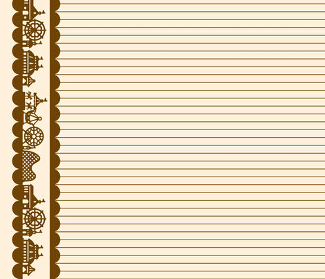 Carnival Border in Brown on Cream fabric by charmcitycurios on Spoonflower - custom fabric