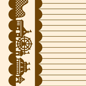 Carnival Border in Brown on Cream