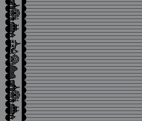 Carnival Border in Black on Gray fabric by charmcitycurios on Spoonflower - custom fabric