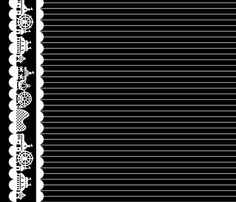 Carnival Border in White on Black fabric by charmcitycurios on Spoonflower - custom fabric