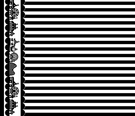 Carnival Border with Stripes in Black on White fabric by charmcitycurios on Spoonflower - custom fabric
