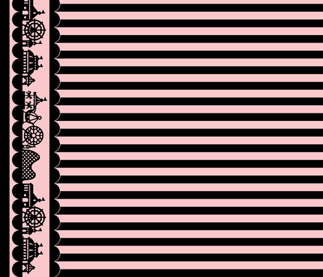 Carnival Border with Stripes in Black on Pink fabric by charmcitycurios on Spoonflower - custom fabric