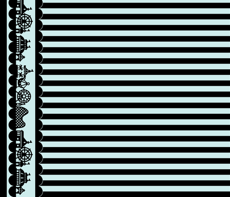 Carnival Border with Stripes in Black on Mint fabric by charmcitycurios on Spoonflower - custom fabric