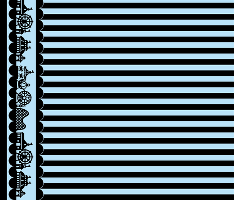 Carnival Border with Stripes in Black on Light Blue fabric by charmcitycurios on Spoonflower - custom fabric