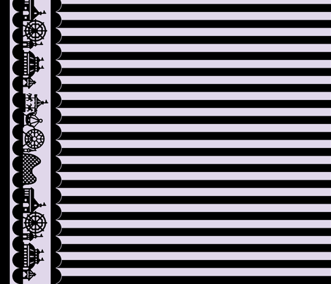 Carnival Border with Stripes in Black on Lilac fabric by charmcitycurios on Spoonflower - custom fabric