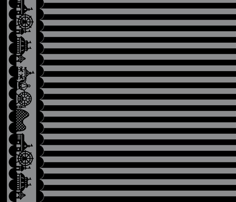 Carnival Border with Stripes in Black on Gray fabric by charmcitycurios on Spoonflower - custom fabric