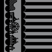 Carnival Border with Stripes in Black on Gray