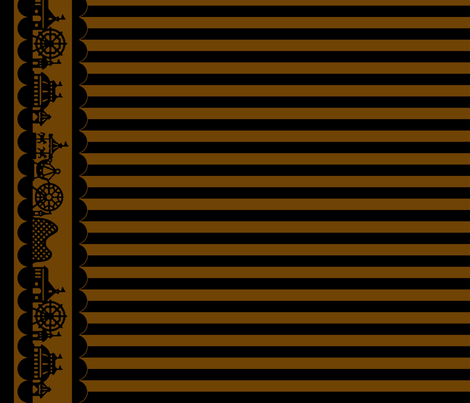 Carnival Border with Stripes in Coffee fabric by charmcitycurios on Spoonflower - custom fabric
