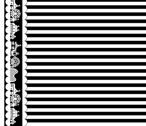 Carnival Border with Stripes in White on Black fabric by charmcitycurios on Spoonflower - custom fabric