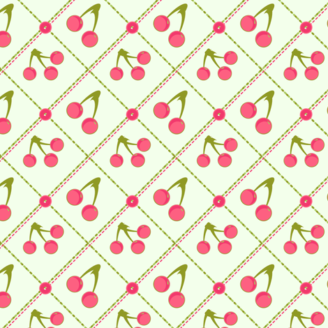 Fresh Picked Pink Cherries fabric by eppiepeppercorn on Spoonflower - custom fabric