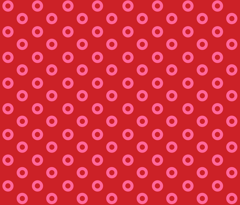 Small Pink Noughts on Red fabric by little_fish on Spoonflower - custom fabric