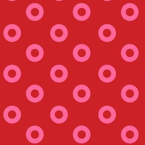 Small Pink Noughts on Red