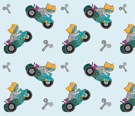 Percy the Cat Clockwork Vintage Motorbike fabric by miss_ella on Spoonflower - custom fabric