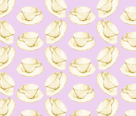 Yellow China Cup fabric by amyelyse on Spoonflower - custom fabric