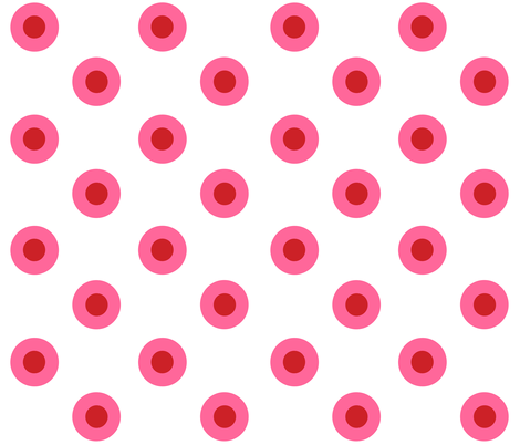 Medium Pink and Red Noughts on White fabric by little_fish on Spoonflower - custom fabric