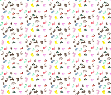 Rainbow rabbits in watercolor fabric by scarlettbunny on Spoonflower - custom fabric