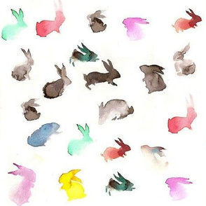 Rainbow rabbits in watercolor