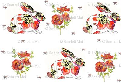 Watercolor rabbits and roses