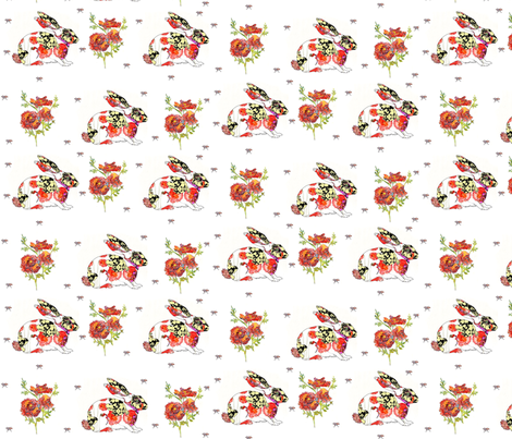 Watercolor rabbits and roses fabric by scarlettbunny on Spoonflower - custom fabric