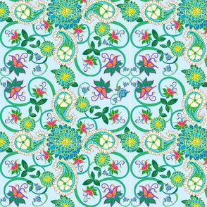Blue and green peonies and paisley