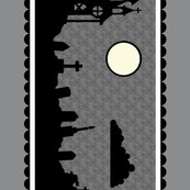 Graveyard Border in Dark Gray