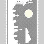 Graveyard Border in Light Gray